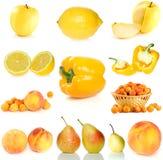 Set gelbe Frucht, Beeren und Gemüse Stockbilder