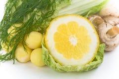 Set Gemüse mit Zitrone Stockbild