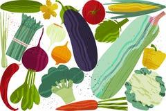 Set Gemüse Vektorillustration des gesunden Lebensmitteldesigns auf dem Thema des Vegetarismus und des Bauernhofes angemessen stock abbildung