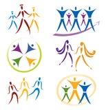 Set Gemeinschaft/Sozialnetz-/Sport-Ikonen Lizenzfreies Stockfoto