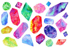 Set of gems or crystals. watercolor illustration Stock Photos