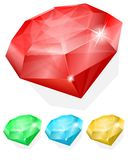 Set of gems in different color Stock Photos
