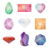Set of gems in low polygon style Stock Photo