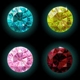 Set gemstone crystal diamond pink garnet, beryl aquamarine. Vector. Illustration bright shiny sparkling luxury precious rich decoration gift symbol sign icon Stock Photo