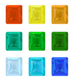 Set gemstones. Set of colored gemstones on a white background vector illustration
