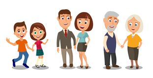 Set generations couples holding hands. Different ages from child Stock Image