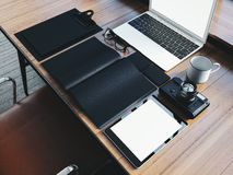 Set of generic design laptop on the wooden table Stock Photography