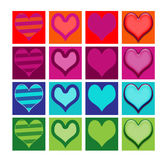 Set of generic heart icons or buttons. Set of generic  heart icons or symbols on isolated background Royalty Free Stock Photography