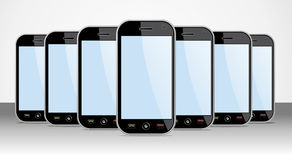 Set of generic Smartphones for app templates. Set of generic black smartphones templates on black background. You can place your own images on the screens. EPS 8 Royalty Free Stock Photography