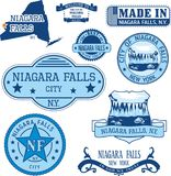 Set of generic stamps and signs of Niagara Falls, NY Stock Images