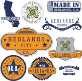 Generic stamps and signs of Redlands, CA. Set of generic stamps and signs of Redlands city, California Stock Photo