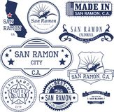Generic stamps and signs of San Ramon city, CA. Set of generic stamps and signs of San Ramon city, California Royalty Free Stock Image