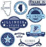 Generic stamps and signs of the state of Illinois Royalty Free Stock Image