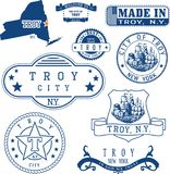 Set of generic stamps and signs of Troy, NY. Set of generic stamps and signs of Troy city, New York state Royalty Free Stock Photography