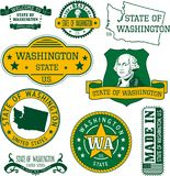 Set of generic stamps and signs of Washington state Stock Photography