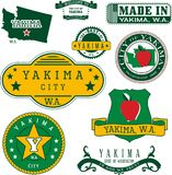 Set of generic stamps and signs of Yakima, WA Royalty Free Stock Photos