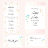 A set of gentle cards for the wedding. Wedding invitation, menu, thank you card and RSVP card. Flowers in hand drawn style Stock Photography