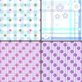 Set gentle seamless patterns Stock Image