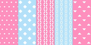 Set of gentle seamless patterns. Pink and blue colors Royalty Free Stock Photos
