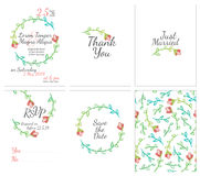 Set of gentle wedding cards. Postcard with the invitation, confirmation, save the date and seamless pattern Royalty Free Stock Images