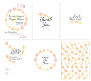 Set of gentle wedding cards. Postcard with the invitation, confirmation, save the date and seamless pattern Royalty Free Stock Photos