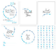Set of gentle wedding cards. Postcard with the invitation, confirmation, save the date and seamless pattern Stock Photos