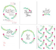 Set of gentle wedding cards. Postcard with the invitation, confirmation, save the date and seamless pattern Stock Images