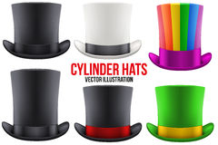 Set of gentleman hat cylinder Stock Photo