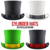 Set of gentleman hat cylinder. Vector Illustration Royalty Free Stock Photography