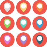 Set of 9 geo Colored Map Pin circled. Vector Illustration. Royalty Free Stock Photography
