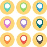 Set of 9 geo Colored Map Pin circled. Vector Illustration. Stock Images