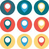 Set of 9 geo Colored Map Pin circled. Vector Illustration. Stock Photo
