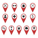 Set of geo pins showing different places Royalty Free Stock Photo