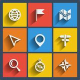 Set of 9 geo web and mobile icons. Vector. Royalty Free Stock Photo