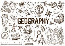 Set of geography symbols. Equipments for web banners. Vintage outline sketch for web banners. Doodle style. Education. Concept. Back to school background. Hand royalty free illustration