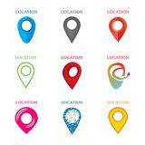 Set of geolocation logos. Logos on the theme of geolocation, gps Stock Images