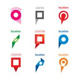 Set of geolocation logos Royalty Free Stock Images