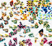 Set of geometric abstract backgrounds - squares and triangles. Mega collection of background templates stock illustration