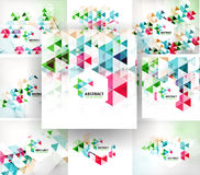 Set of geometric abstract polygonal backgrounds. Modern business fresh templates Royalty Free Stock Images