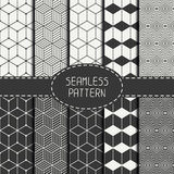Set of geometric abstract seamless cube pattern. With rhombuses. Wrapping paper. Paper for scrapbook. Tiling. Vector illustration. Background. Graphic texture Royalty Free Stock Image
