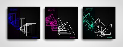 Set of Geometric Abstract shapes compositions. Trendy minimal design. Modern geometric shapes color covers set. vector illustration