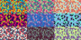 Set of geometric backgrounds camouflage patterns Stock Image