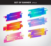 Set of geometric banners or label vivid gradient color plastic cards made in material design style. You can use for promotion vector illustration