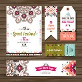 Set of geometric boho colorful flyers. Vector decorative ethnic greeting card or invitation design background Royalty Free Stock Photos
