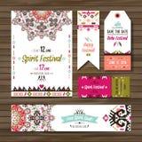 Set of geometric boho colorful flyers. Vector decorative ethnic greeting card or invitation design background Royalty Free Stock Image