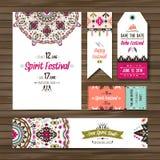 Set of geometric boho colorful flyers. Vector decorative ethnic greeting card or invitation design background Stock Photo
