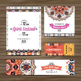 Set of geometric boho colorful flyers. Vector decorative ethnic greeting card or invitation design background. Set of geometric boho bright flyers. Vector vector illustration