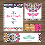 Set of geometric boho colorful flyers. Vector decorative ethnic greeting card or invitation design background Stock Images