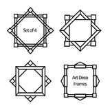 Set of geometric borders and frames. Set of Art deco borders and frames. Template in style of 1920s for your design. Vector illustration Stock Photos