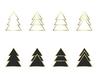 A set of geometric Christmas trees Stock Photo